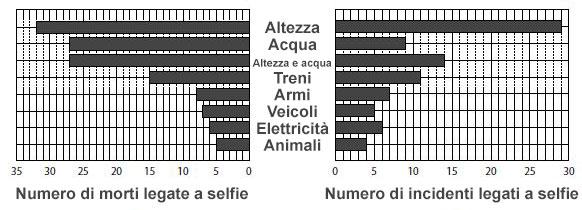 Killfie - Lo schema indica il numero di vittime per tipo di cause delle morti ed incidenti da selfie.