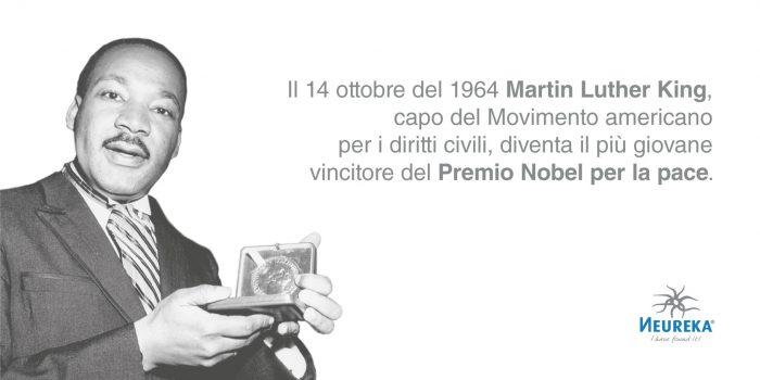 Il 14 ottobre del 1964 Martin Luther King, capo del Movimento americano per i diritti civili, diventa il più giovane vincitore del Premio Nobel per la pace