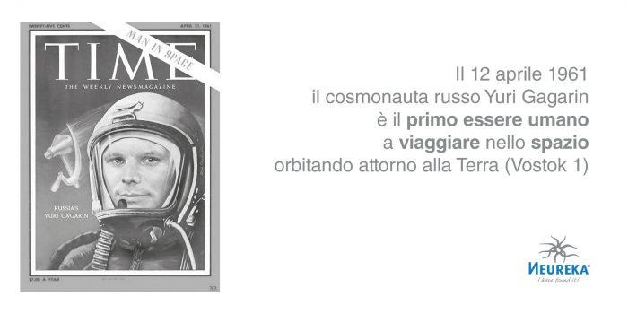 l 12 aprile 1961 il cosmonauta russo Yuri Gagarin è il PRIMO ESSERE UMANO a VIAGGIARE nello SPAZIO orbitando attorno alla Terra (Vostok 1)