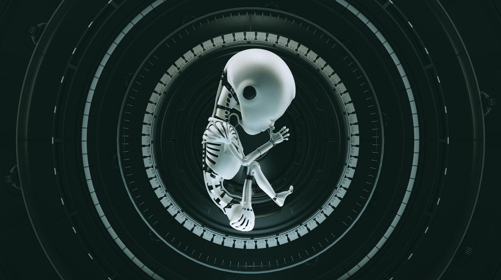 illustrazione rappresentante un androide dalle sembianze di un feto