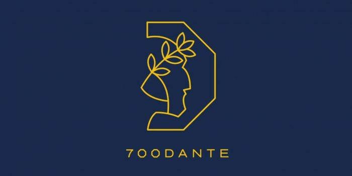 L'immagine che accoglie il visitatore sul sito delle celebrazioni per il settecentenario di Dante Alighieri rappresenta il logo composto da una D e il profilo del volto di Dante in oro su fondo blu e la scritta 700DANTE