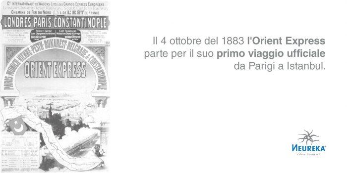 """Locandina antica che pubblicizzava il viaggio dell'Orient Express affiancata al titolo """"Il 4 ottobre del 1883 L'ORIENT EXPRESS parte per il suo Primo Viaggio ufficiale da Parigi a Istanbul"""""""