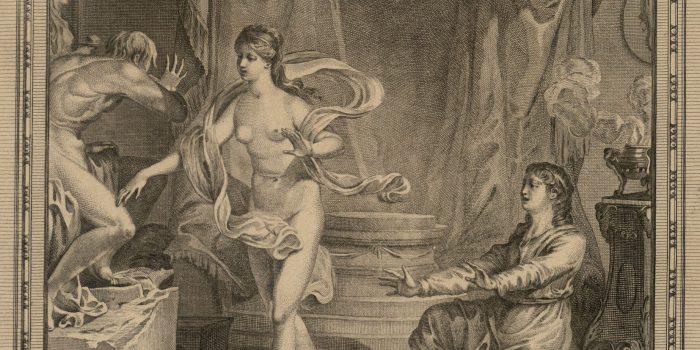 Particolare di una stampa antica raffigurante il momento in cui Galatea prende vita sotto gli occhi di Pigmalione