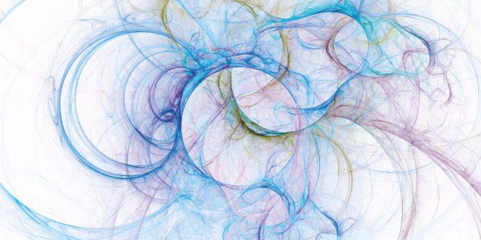 scala pitagorica - illustrazione astratta con cerchi ed elementi frattali che ricordano le onde sulla superficie dell'acqua date dalle gocce di pioggia
