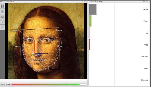 Schermata del software FACE READER elaborante il volto della Monnalisa